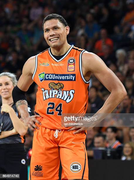 Michael Carrera of the Taipans smiles during the round three NBL match between the Cairns Taipans and the Perth Wildcats at Cairns Convention Centre...