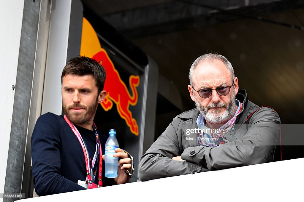 <a gi-track='captionPersonalityLinkClicked' href=/galleries/search?phrase=Michael+Carrick&family=editorial&specificpeople=214599 ng-click='$event.stopPropagation()'>Michael Carrick</a>, football player, and <a gi-track='captionPersonalityLinkClicked' href=/galleries/search?phrase=Liam+Cunningham&family=editorial&specificpeople=549747 ng-click='$event.stopPropagation()'>Liam Cunningham</a>, actor, watch the action during the Monaco Formula One Grand Prix at Circuit de Monaco on May 29, 2016 in Monte-Carlo, Monaco.