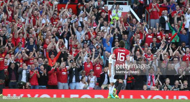 Michael Carrick of Manchester United '08 XI celebrates scoring their second goal during the Michael Carrick Testimonial match between Manchester...