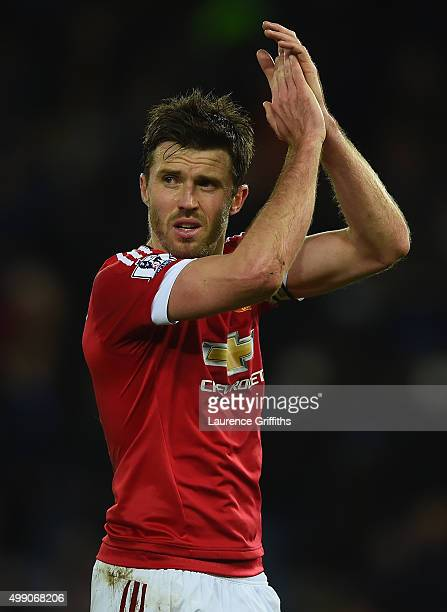Michael Carrick of Manchester United applauds supporters after the Barclays Premier League match between Leicester City and Manchester United at The...