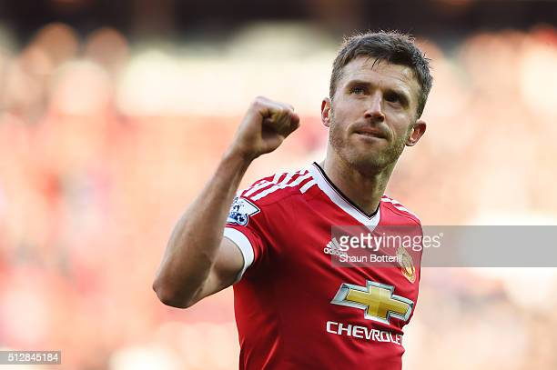 Michael Carrick of Manchester United celebrates after the Barclays Premier League match between Manchester United and Arsenal at Old Trafford on...