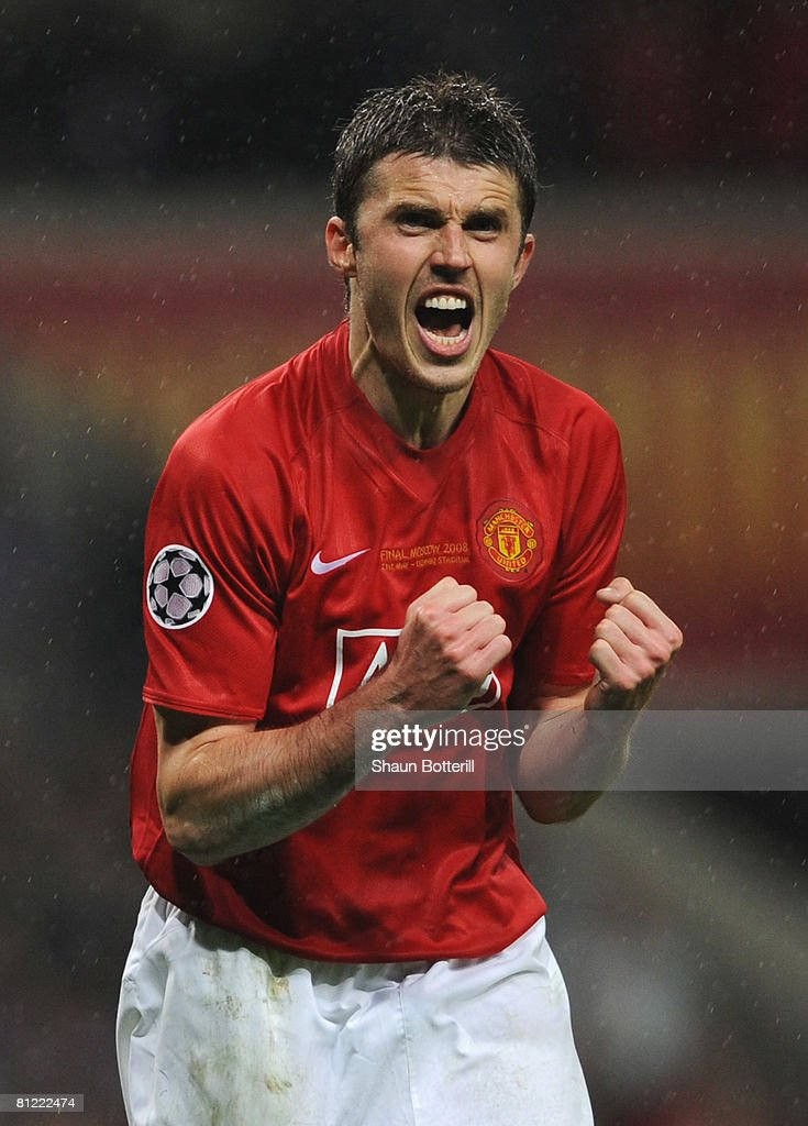 Michael Carrick of Manchester United celebrates as he scores a penalty in the shoot out during the UEFA Champions League Final match between Manchester United and Chelsea at the Luzhniki Stadium on May 21, 2008 in Moscow, Russia.