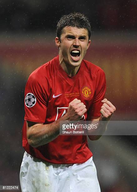 Michael Carrick of Manchester United celebrates as he scores a penalty in the shoot out during the UEFA Champions League Final match between...