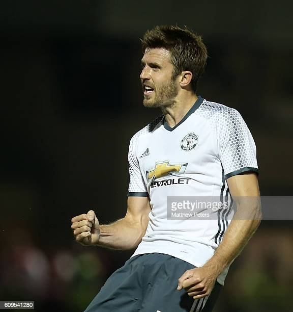 Michael Carrick of Manchester United celebrates scoring the first goal during the EFL Cup Third Round match between Northampton Town and Manchester...