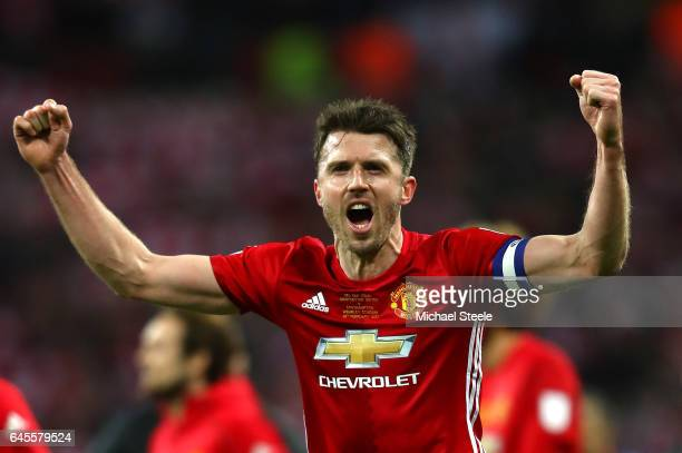 Michael Carrick of Manchester United celebrates victory after the EFL Cup Final match between Manchester United and Southampton at Wembley Stadium on...
