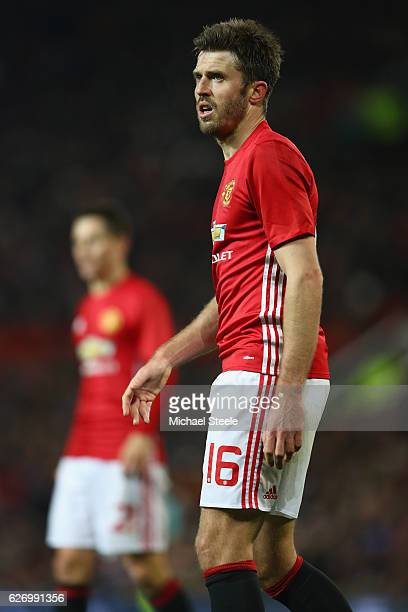 Michael Carrick of Manchester United during the EFL Cup QuarterFinal match between Manchester United and West Ham United at Old Trafford on November...