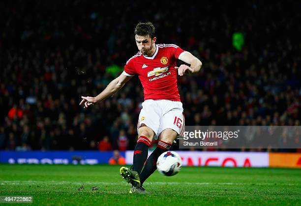 Michael Carrick of Manchester United fails to score from the penalty spot in the penalty shoot out during the Capital One Cup Fourth Round match...