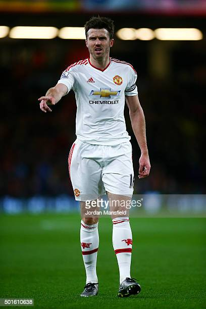 Michael Carrick of Manchester United gestures during the Barclays Premier League match between AFC Bournemouth and Manchester United at the Vitality...