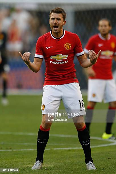 Michael Carrick of Manchester United in action against Club America during the International Champions Cup at CenturyLink Field on July 17 2015 in...