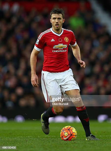 Michael Carrick of Manchester United in action during the Barclays Premier League match between Manchester United and West Bromwich Albion at Old...