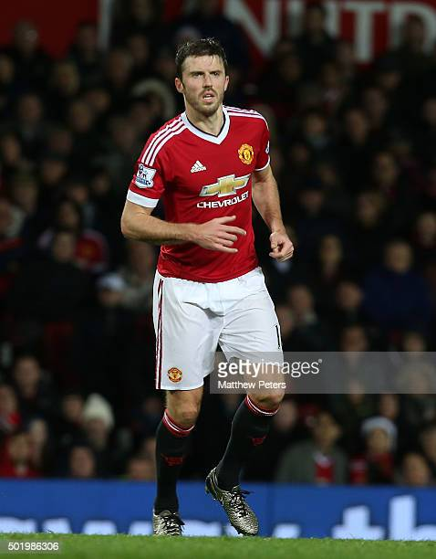 Michael Carrick of Manchester United in action during the Barclays Premier League match between Manchester United and Norwich City at Old Trafford on...