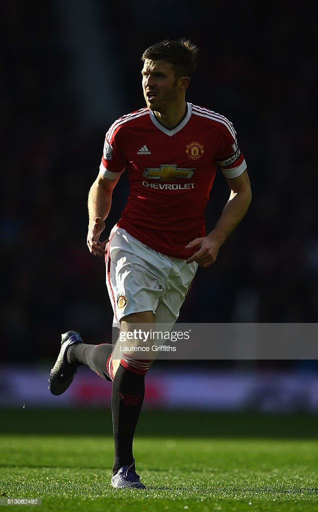 Michael Carrick of Manchester United in action during the Barclays Premier League match between Manchester United and Arsenal at Old Trafford Stadium on February 28, 2016 in Manchester, England.
