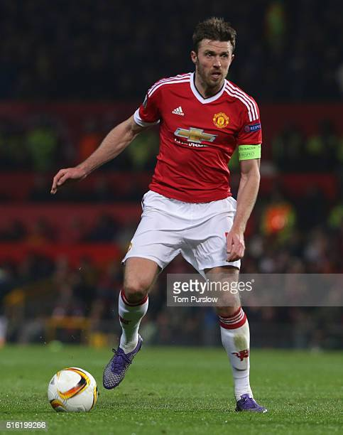 Michael Carrick of Manchester United in action during the UEFA Europa League Round of 16 Second Leg match between Manchester United and Liverpool at...