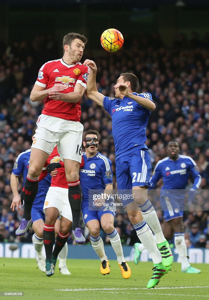 Michael Carrick of Manchester United in action with Nemanja Matic of Chelsea during the Barclays Premier League match between Chelsea and Manchester United at Stamford Bridge on February 7 2016 in London, England.