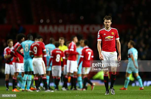 Michael Carrick of Manchester United reacts after the Barclays Premier League match between Manchester United and West Ham United at Old Trafford on...