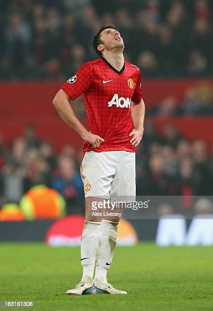 Michael Carrick of Manchester United reacts during the UEFA Champions League Round of 16 Second leg match between Manchester United and Real Madrid...