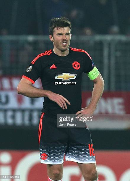 Michael Carrick of Manchester United reacts to Paul Onuachu of FC Midtjylland scoring their second goal during the UEFA Europe League match between...