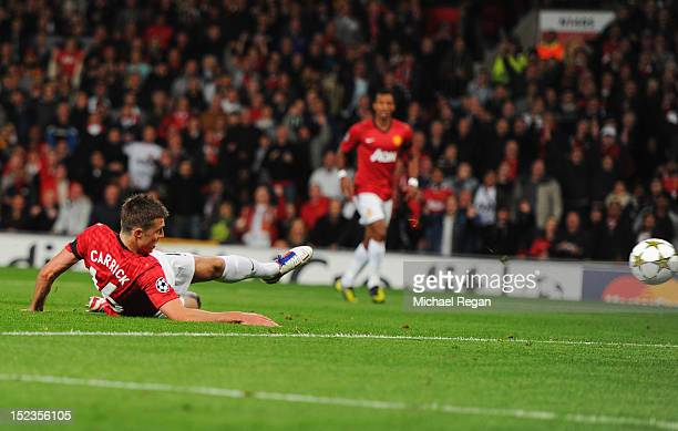 Michael Carrick of Manchester United scores their first goal during the UEFA Champions League Group H match between Manchester United and Galatasaray...