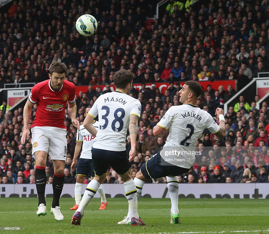 <a gi-track='captionPersonalityLinkClicked' href=/galleries/search?phrase=Michael+Carrick&family=editorial&specificpeople=214599 ng-click='$event.stopPropagation()'>Michael Carrick</a> of Manchester United scores their second goal during the Barclays Premier League match between Manchester United and Tottenham Hotspur at Old Trafford on March 15, 2015 in Manchester, England.