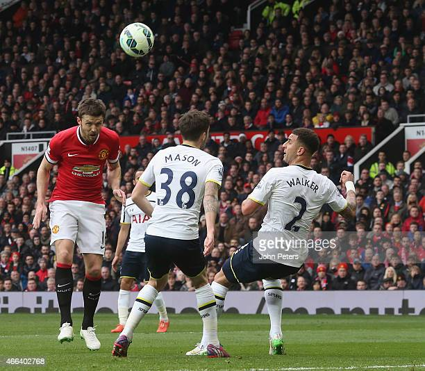 Michael Carrick of Manchester United scores their second goal during the Barclays Premier League match between Manchester United and Tottenham...