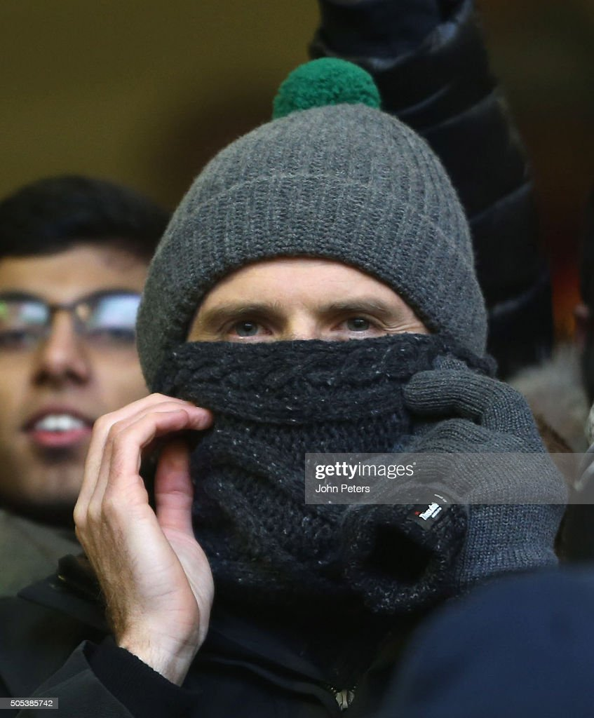 Michael Carrick of Manchester United watches from the stands during the Barclays Premier League match between Liverpool and Manchester United at Anfield on January 17 2016 in Liverpool, England.