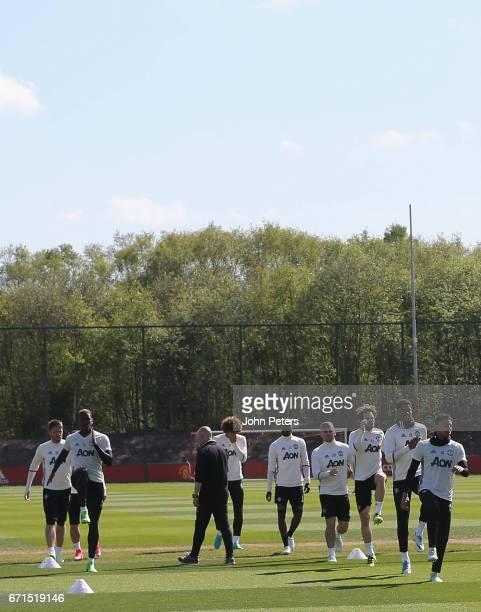 Michael Carrick Paul Pogba Marouane Fellaini Eric Bailly Luke Shaw Daley Blind Marcus Rashford and Jesse Lingard of Manchester United in action...