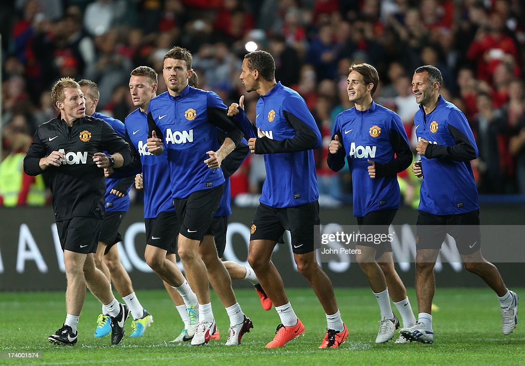 Michael Carrick, Rio Ferdinand, Adnan Januzaj and Ryan Giggs of Manchester United in action during a first team training session as part of their pre-season tour of Bangkok, Australia, China, Japan and Hong Kong on July 19, 2013 in Sydney, Australia.