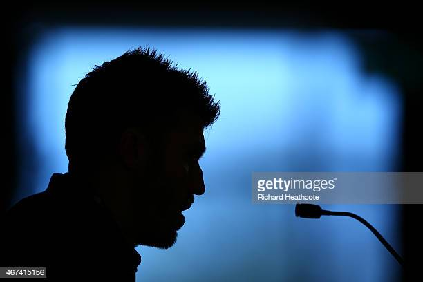 Michael Carrick speaks to the media during an England Press Conference at St Georges Park on March 24 2015 in BurtonuponTrent England