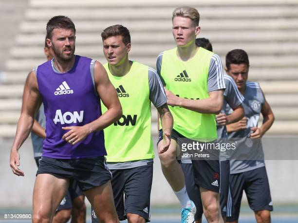 Michael Carrick Victor Lindelof and Scott McTominay of Manchester United in action during a first team training session as part of their preseason...