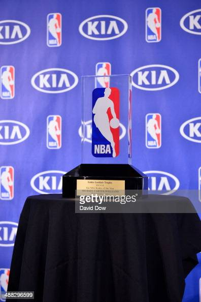 Michael Carter Williams of the Philadelphia 76ers receives the Eddie Gottlieb Trophy for the 2014 KIA NBA Rookie of the Year award during a press...