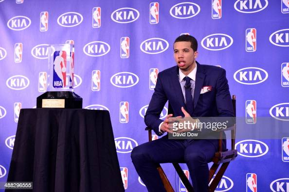 Michael Carter Williams of the Philadelphia 76ers speaks to the media as he receives the Eddie Gottlieb Trophy for the 2014 KIA NBA Rookie of the...