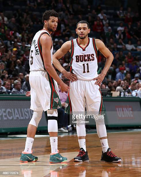 Michael CarterWilliams and Tyler Ennis of the Milwaukee Bucks during the game against the San Antonio Spurs on March 18 2015 at BMO Harris Bradley...