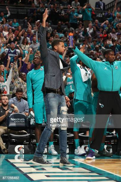 Michael CarterWilliams of the Charlotte Hornets reacts during the game against the Atlanta Hawks on October 20 2017 at Spectrum Center in Charlotte...