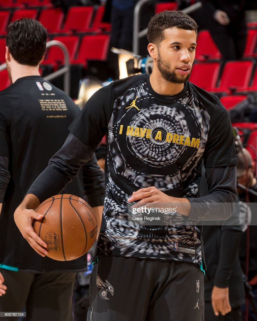 Michael Carter-Williams #10 of the Charlotte Hornets warms up before the an NBA game against the Detroit Pistons at Little Caesars Arena on January 15, 2018 in Detroit, Michigan.