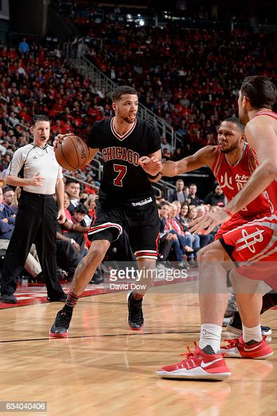 Michael CarterWilliams of the Chicago Bulls drives to the basket against the Houston Rockets during the game on February 3 2017 at the Toyota Center...