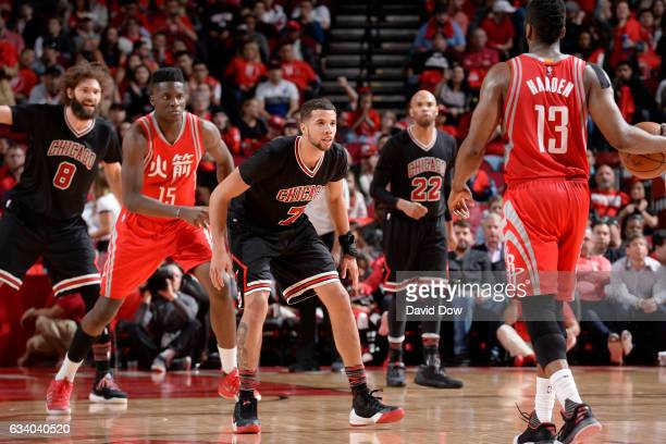 Michael CarterWilliams of the Chicago Bulls plays defense against James Harden of the Houston Rockets during the game on February 3 2017 at the...