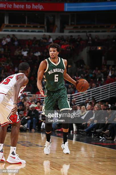 Michael CarterWilliams of the Milwaukee Bucks brings the ball up court against the Chicago Bulls during a preseason game on October 6 2015 at the...