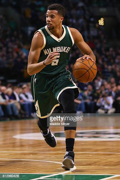 Michael CarterWilliams of the Milwaukee Bucks carries the ball against the Boston Celtics during the second quarter at TD Garden on February 25 2016...