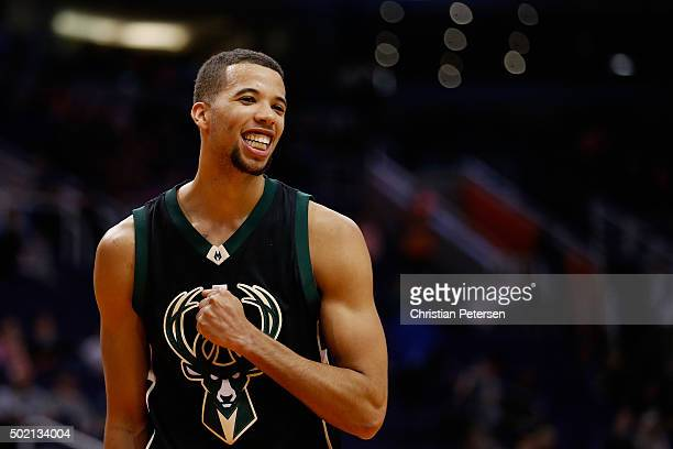 Michael CarterWilliams of the Milwaukee Bucks celebrates during the final moments of the NBA game against the Phoenix Suns at Talking Stick Resort...