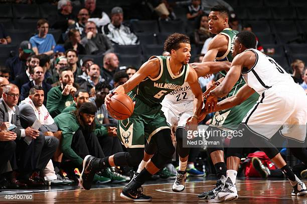Michael CarterWilliams of the Milwaukee Bucks handles the ball against the Brooklyn Nets during the game on November 2 2015 at Barclays Center in...