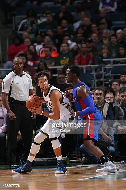 Michael CarterWilliams of the Milwaukee Bucks handles the ball against the Detroit Pistons on November 23 2015 at the BMO Harris Bradley Center in...