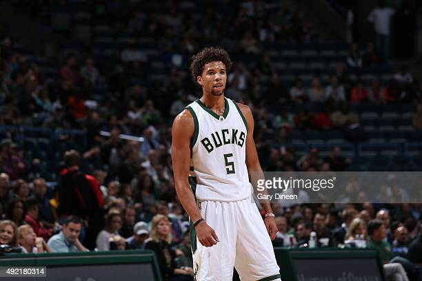 Michael CarterWilliams of the Milwaukee Bucks looks on against the Detroit Pistons on October 10 2015 at the BMO Harris Bradley Center in Milwaukee...