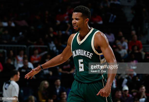 Michael CarterWilliams of the Milwaukee Bucks reacts after a basket in the second overtime of their 117109 win over the Atlanta Hawks at Philips...