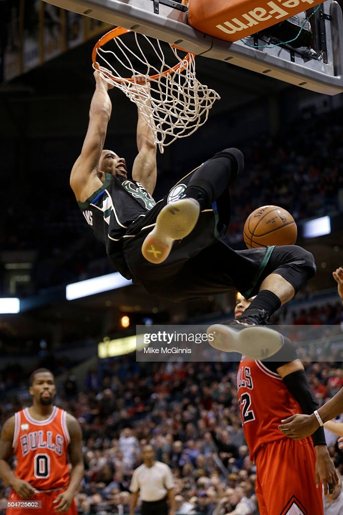 <a gi-track='captionPersonalityLinkClicked' href=/galleries/search?phrase=Michael+Carter-Williams&family=editorial&specificpeople=7621167 ng-click='$event.stopPropagation()'>Michael Carter-Williams</a> #5 of the Milwaukee Bucks slam dunks the basketball during the third quarter against the Chicago Bulls at BMO Harris Bradley Center on January 12, 2016 in Milwaukee, Wisconsin.