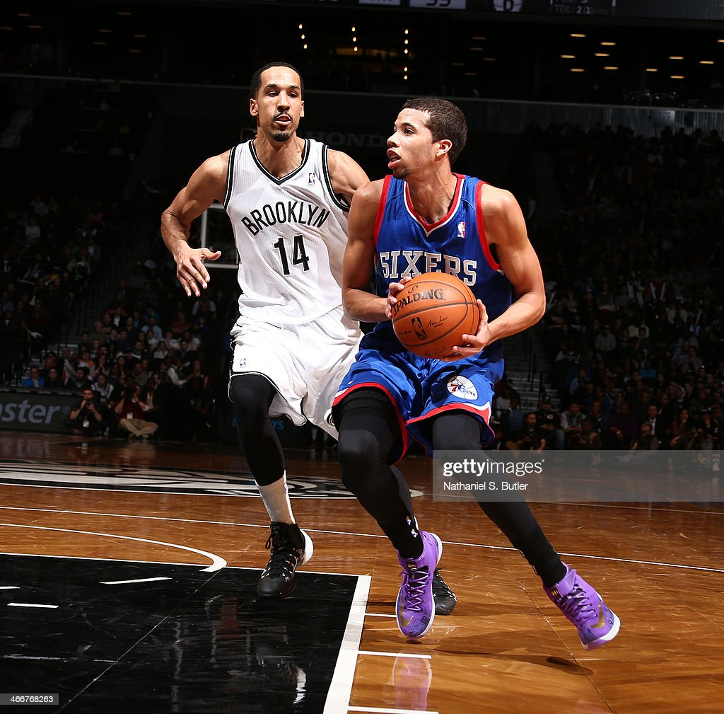 <a gi-track='captionPersonalityLinkClicked' href=/galleries/search?phrase=Michael+Carter-Williams&family=editorial&specificpeople=7621167 ng-click='$event.stopPropagation()'>Michael Carter-Williams</a> #1 of the Philadelphia 76ers drives against Shaun Livingston #14 of the Brooklyn Nets during a game at Barclays Center in Brooklyn.