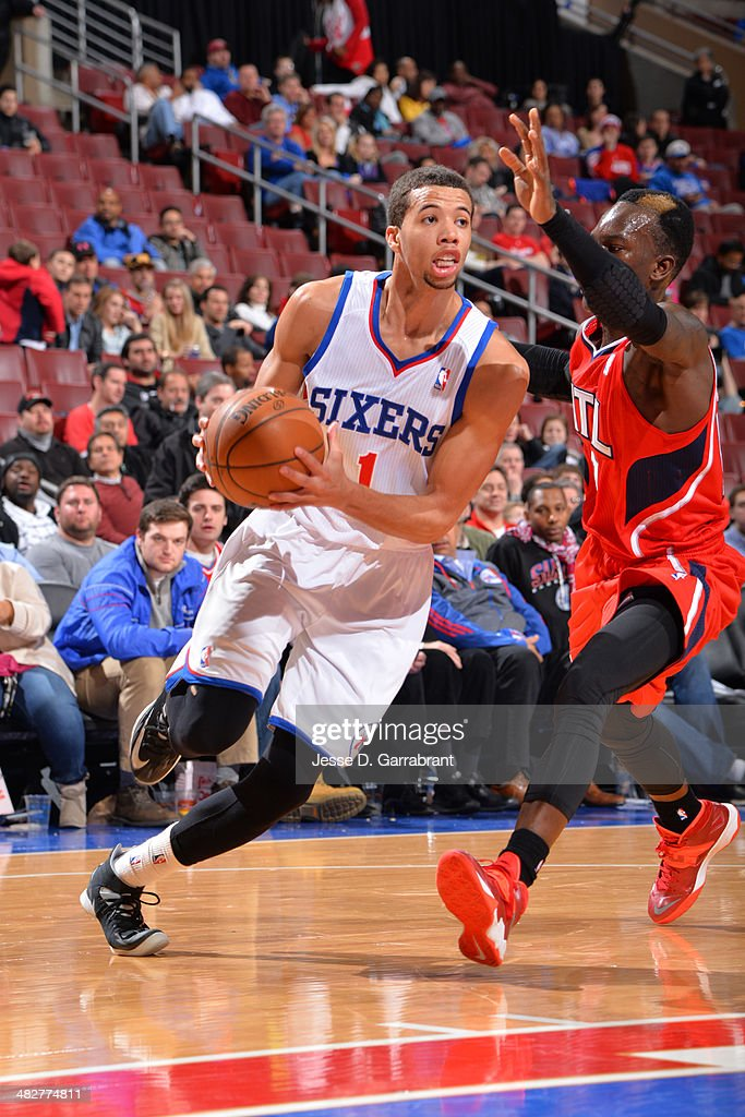 <a gi-track='captionPersonalityLinkClicked' href=/galleries/search?phrase=Michael+Carter-Williams&family=editorial&specificpeople=7621167 ng-click='$event.stopPropagation()'>Michael Carter-Williams</a> #1 of the Philadelphia 76ers drives to the basket against the Atlanta Hawks at the Wells Fargo Center on January 31, 2014 in Philadelphia, Pennsylvania.