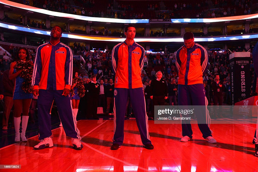 Michael Carter-Williams #1 of the Philadelphia 76ers stands for the National Anthem before the game against the Golden State Warriors at the Wells Fargo Center on November 4, 2013 in Philadelphia, Pennsylvania.