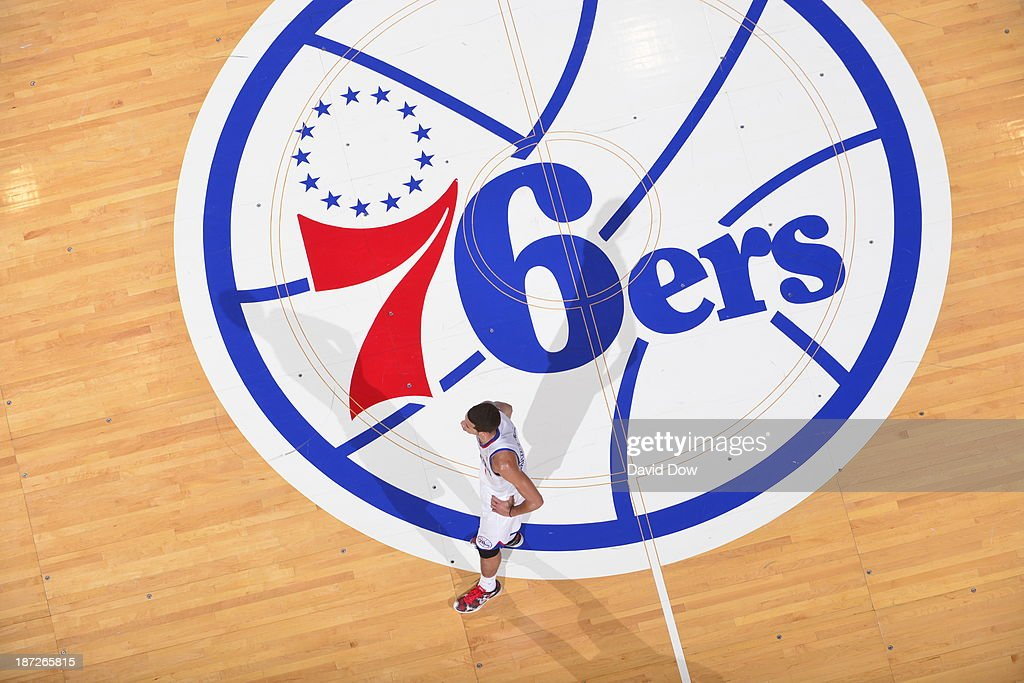 <a gi-track='captionPersonalityLinkClicked' href=/galleries/search?phrase=Michael+Carter-Williams&family=editorial&specificpeople=7621167 ng-click='$event.stopPropagation()'>Michael Carter-Williams</a> #1 of the Philadelphia 76ers stands on the court against the Washington Wizards on November 6, 2013 in Philadelphia, Pennsylvania.