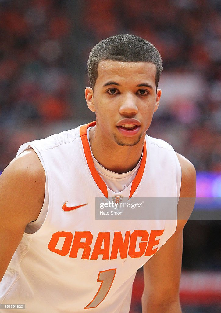 Michael Carter-Williams #1 of the Syracuse Orange looks on during a break in play in the game against the St. John's Red Storm at the Carrier Dome on February 10, 2013 in Syracuse, New York.