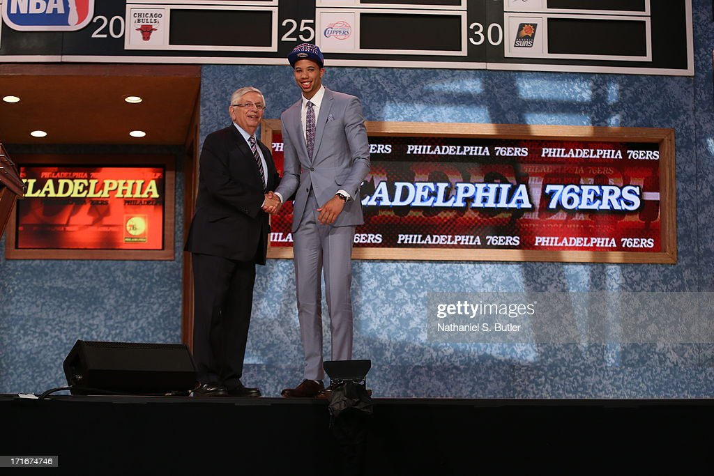 Michael Carter-Williams shakes hands with NBA Commissioner, David Stern after being selected number eleven overall by the Philadelphia 76ers during the 2013 NBA Draft on June 27, 2013 at Barclays Center in Brooklyn, New York.